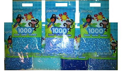 Perler Bead Bag, 7 Pack Group (Blue Dark, light, Pastel, Blueberry Cream Clear Blue, Turquoise, Periwinkle)