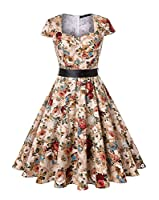 ROOSEY Women's 1950s Retro Vintage Sweetheart V Neck Cocktail Party Dresses