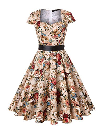 ROOSEY Women's 1950s Retro Vintage Sweetheart V Neck Cocktail Party Dresses (XX-Large, Pat1) ()