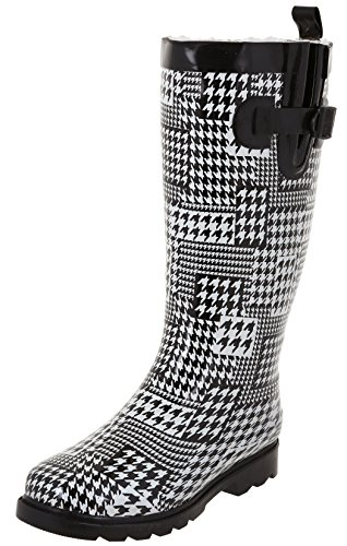 Capelli New York Ladies Shiny Houndstooth Collage Printed Rain Boot White Combo 10