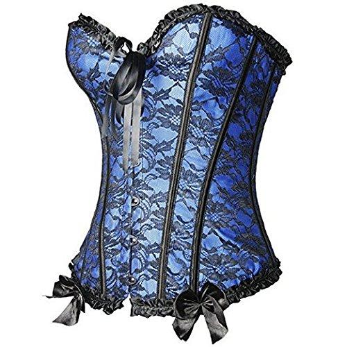 Taille S taille Lycra Grande Avec Ventre Nœud 6xl Dentelle Jacquard Bustier Minceur Bleu Feelingirl Plat Serrée Femme Serre Corset Gothique Sexy Lacets aIz4wx