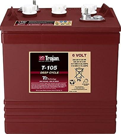 Trojan T de 1056V 225Ah Deep Cycle–Batería de plomo para aplicaciones de tracción