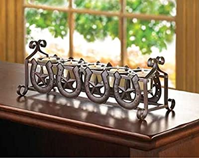 Horseshoes And Stars Candleholder Western Americana Decor