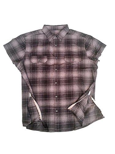 Grey/Black Fear of God inspired Short Sleeve Flannel w/ Side - Button Shirt Down Bieber Justin