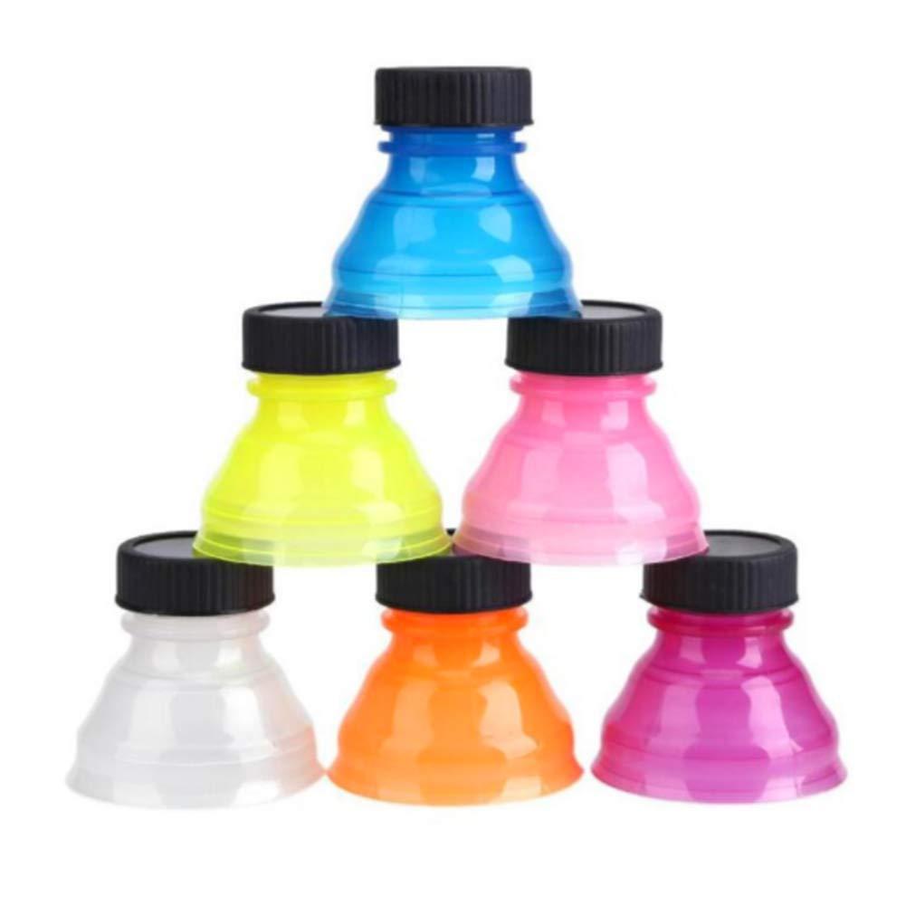 Hemore 6Pcs Drink Bottle Sealing Cap Dustproof Reusable Snap On Pop Can Convert Soda Savers Bottle Caps for Cool Coke Drink Lids(Mixed Color)