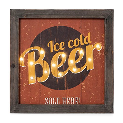 Xing Cheng Ice Cold Beer Home Wall Decoration Wall Art Metal Wall Decor With LED Mounted On The Wooden Wall (Ice Led Sign)