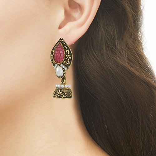 Fasherati Bronze Finish Jhumki with Pink Stone And Pearls For Women