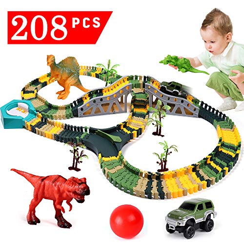 Alpacasso Toy Car Race Tracks Set, Dinosaur Toys Dino World Playset with 192 Pcs Flexible Train Track + 1Car + 3 Dinosaurs for Kids Boys Girls Ages 3 4 5 6 7 8 + Years Old