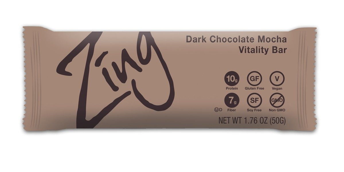 Zing Nutrition Bar, Dark Chocolate Mocha, (Pack of 12), Non-GMO Snack Bar for Optimum Energy, Gluten & Soy Free, Vegan, Plant-Based Protein
