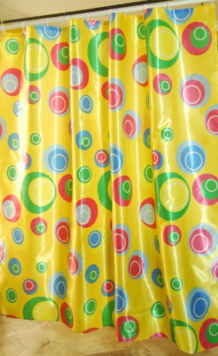 [[Free Shipping] Quality Polyester Fabric Shower Curtain Surface Coated Waterproof 72