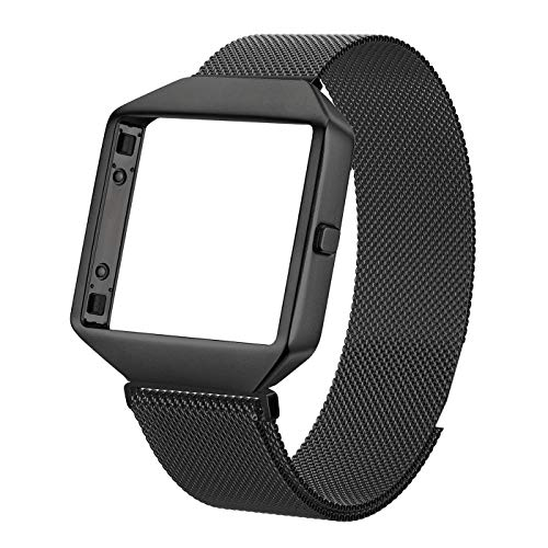 Metal Bands Compatible with Fitbit Blaze, Small and Large Stainless Steel Replacement Adjustable Band with Metal Frame for Fit bit Blaze Women Men, Black Large (Black Blaze)