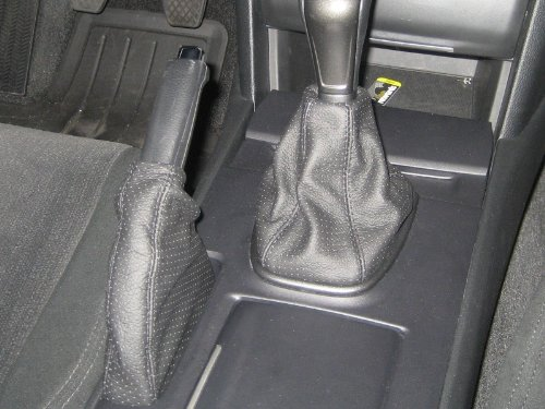 Black perforated leather-Silver thread RedlineGoods shift boot compatible with Honda Accord 2008-12