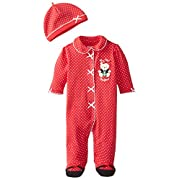 Little Me Baby-Girls Newborn Girl Bear Footie and Hat, Red, 6 Months