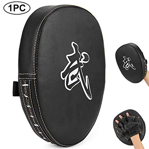 RUNACC Boxing Punching Mitt PU Focus Pads Leather for Karate MMA Martial Kickboxing Muay Thai Drills Fitness Practice (1PC)