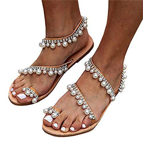 (Liyuandian Women Bling Rhinestone Pearl Wedding Dress Thong Flat Sandals (9(M) US, 1-Silver))