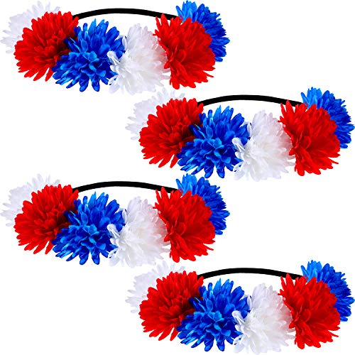 4 Pieces Patriotic Stretch Headband Red White Blue Holiday Hairband Festival Flower Crown Flower Hair Band Bohemian Floral Headpiece for Girls and Women
