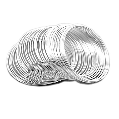 (MEMORY WIRE 18g HEAVY DUTY 1mm choose plating 2.25 BRACELET SIZE 12 loops (Silver Plated) )
