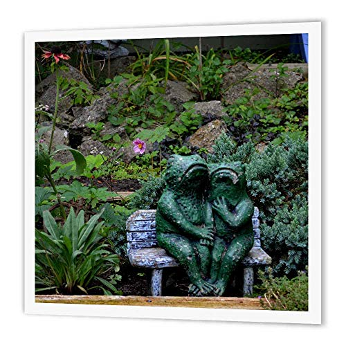 3dRose ht_165331_1 A Set of Frog Statues Sitting on a Garden Bench-Iron on Heat Transfer Paper for White Material, 8 by 8-Inch ()