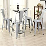 Diy Kitchen Island with Seating Belleze (4-PC) 24'' High Silver Indoor-Outdoor Counter Height Stool with Back