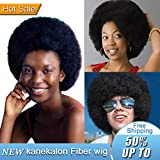 (US) Short Afro Puff Kinky Curly Synthetic Hair Wig Andromeda Cosplay Halloween Fashion Hip Hop Disco Theme Party Women or Men Hair Wig+1 Pcs Wig Cap (Natural Black)