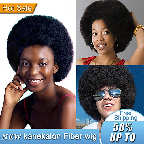 Short Afro Puffy Synthetic Hair Wig Andromeda Natural Black Heat Resistant Fluffy Hair Wig Unisex Men Women Cosplay Anime Fancy Funny Hip Hop Party Wigs (1B) -