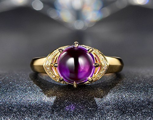 Solid 18k yellow gold promise ring,0.12ct SI-H Diamond Engagement ring,2.3ct Natural Round VVS purple Amethyst,Prong set 0.12 Ct Natural