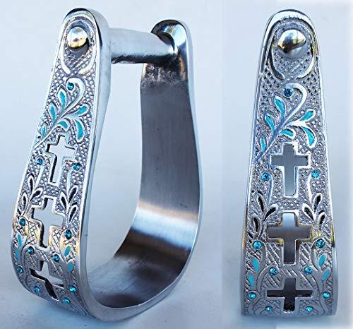 (PRORIDER Horse Saddle Aluminum Leather Tread Cross 5168)