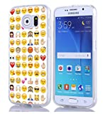 Galaxy S6 Case & MUQR Bumper Rubber Gel Silicone Slim Drop Proof Protection Cover Compatible with Samsung Galaxy S6 & Funny Personalized Emoji Pattern