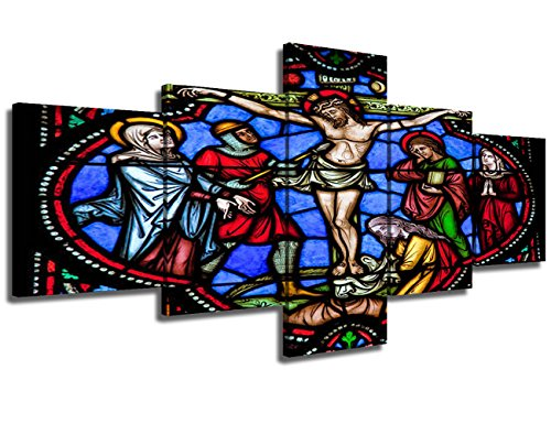 Crucifix Wall Cross Jesus Painting Stained Glass Style Pictures 5 Piece Canvas Wall Art Modern Artwork Home Decor for Living Room Giclee Framed Gallery-Wrapped Stretched Ready to ()