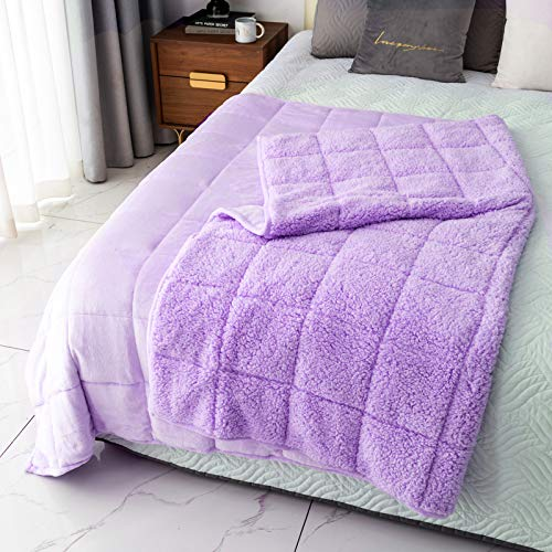 MrSandman-Sherpa-Fleece-Weighted-Blanket-for-TwinFull-Size-Bed-with-Dual-Sided-Purple-Cozy-Fluffy-Bed-Blanket-for-Adults-48x72