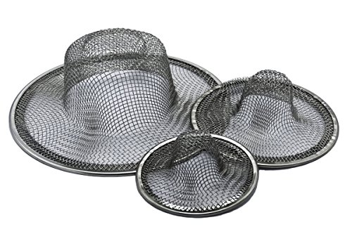 - Jones Best Buy Stainless Steel Sink Strainer Set - 3 Pieces, Fits most Kitchen Sinks, Shower Drains, Bathroom Sinks, Mesh Drain Cover - Bathroom Drain Stopper