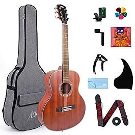 38 inch Acoustic Guitar Mahogany Travel Guitarra With Nylon String & Beginners Kit (Gig Bag Tuner Strap Picks Strings…