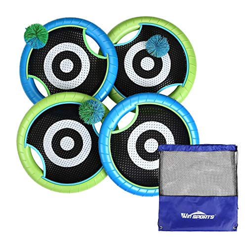 Win SPORTS Outdoor Trampoline Paddle Ball Set for 4 Players - Includes 4 Rackets, 3 Rubber String Balls,1 Storage Bag - Outdoor Family Camping Game for Kids, Adults, and Couples