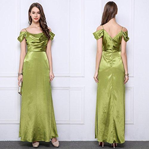 Robes De Soirée Des Femmes Cotylédons Col V Robe Slip Manches Mince Vert Ajustement
