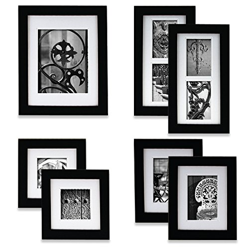 GALLERY PERFECT 7 Piece Black Wood Photo Frame Wall Gallery Kit #11FW794. Includes: Frames, Hanging Wall Template, Decorative Art Prints and Hanging Hardware
