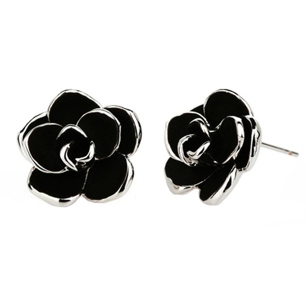 Flower Stud Earring White Gold Plated Cute Black