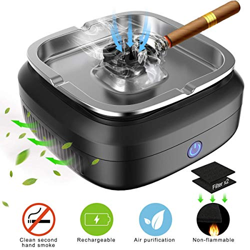 FORTGESCHE Smokeless Ashtray, Newest Cigar Ashtray for Cigarettes Indoor and Outdoor, Desktop Ash Tray USB Rechargeable 8000mAh for Home Office Car 3 Pcs Filter Nets Include (Ashtray Smokeless)