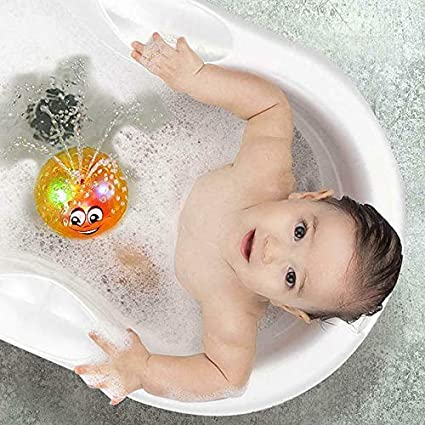 JeromKewin Baby Bade Spielsachen Hell Spritzer Spielsachen S/ü/ß Elektrisch Induktion Ball Licht Spielen Baden Wasser Spielsachen Badewanne Schwimmbad Gelb