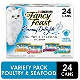 Purina Fancy Feast Wet Cat Food Variety Pack, Creamy Delights Poultry & Seafood Collection - (24) 3 oz. Cans