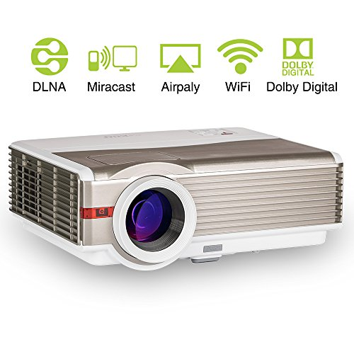 HD 1080p LED Wireless Projector 4200lumen Android WXGA Video Projector 200' LCD TFT Diaply Multimedia HDMI Smart Digital Proyector, Outdoor/Indoor Entertainment