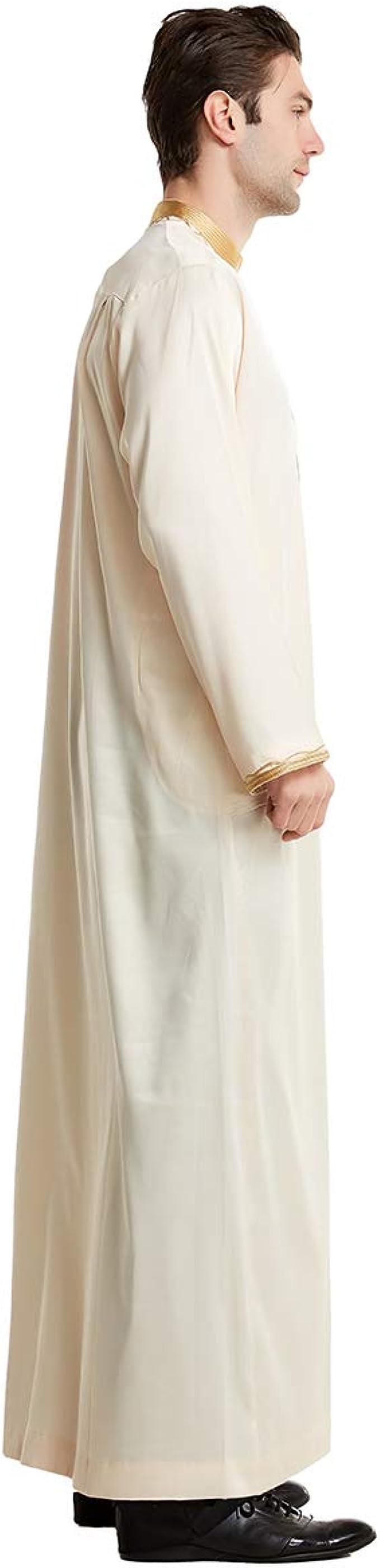 ONTBYB Mens Long Sleeve Arabic Abaya Muslim Middle East Arabian Robe