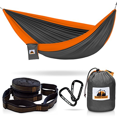Huge-Sale-Ending-Soon-All-in-One-Camping-Hammock-Portable-and-Lightweight--Includes-Double-Parachute-Hammock-2-Heavy-Duty-10-Straps-Super-Strong-Carabiners-by-Traveler-Fantasy