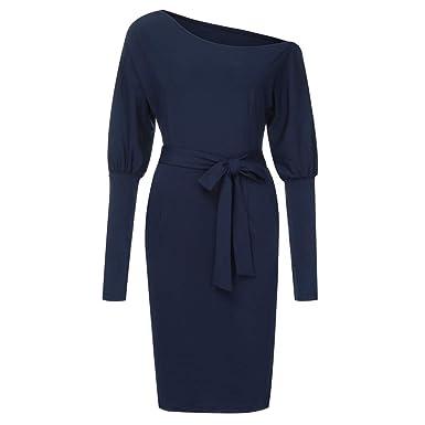 ef8d996ea06 TIMEMEANS Robe habillée à Manches Longues pour Femme Longue au Genou  Slashnech Femme Automne Hiver Bleu