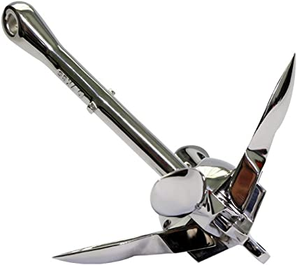 Folding Grapnel Anchor Steel Stainless 1.5lbs 0.7kg Boat-Marine-Yacht-Dinghies