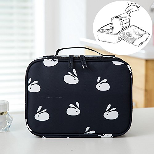 LANGUGU Waterproof 2 Layer Large Capacity Cosmetic Bag Portable Makeup Brush Organizer Kit Multifunctional Vacation Travel Home Toiletry Cute Printed Pouch for Little Young Girl (Black Rabbit)