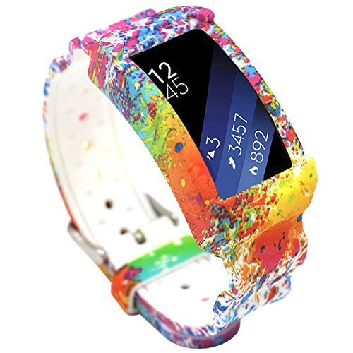 EL-move Samsung Gear Fit 2 SM-R360 Band, Silicone Replacement Frame Rugged Protective Case Wristband Sport Bands for amsung Gear Fit2 & Fit2 Pro Tracker Smart Watch Accessories Strap (Painting)