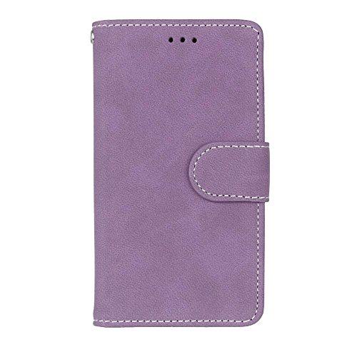 YHUISEN Retro estilo sólido color Premium PU cuero cartera de la caja Flip Folio cubierta de la caja protectora con ranura para tarjeta / soporte para Sony Xperia Z5 Mini ( Color : Green ) Purple