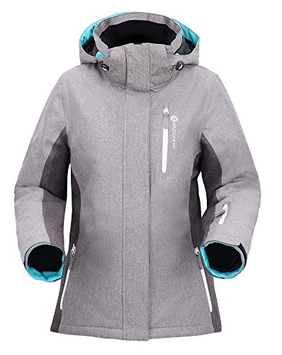 (Andorra Ski Jacket Women's Waterproof Mountain Outdoor Snow Jacket,Dr Gry/Li Gry/Teal,L)