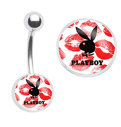 - Officially Licensed Red Kisses Playboy Bunny Belly navel Ring piercing bar body jewelry 14g