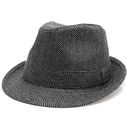 MIRMARU Men's Wool Blend Short Brim Trilby Fedora Hat with Band(Herringbone Charcoal,LXL)